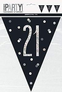 Unique Party- Bandera, Color black & silver (83425)