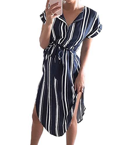 r Damen Kleider Kurzarm V-Ausschnitt Strandkleider Blumen Knielang Kleid mit Gürtel Partykleider Abendkleid (0894 Navy Blau, S) ()