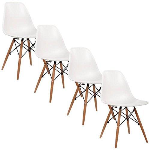 WV LeisureMaster Silla de plástico silla de comedor Juego de 4 Sillas color Blanco