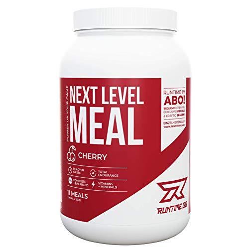 Runtime Next Level Meal Kirsche - vollwertiger Nahrungsersatz, Sättigung (5-6 Stunden), Energie und Leistungsfähigkeit, mit Vitaminen und Nährstoffen und Aminosäuren, 1,65kg - 11 Mahlzeiten -