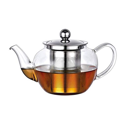 Glass Teapot 600ml, Loose Tea Leaf Infuser Glass Stainless Steel Infusion Tea Pot Clear Glass Heat Resistant Large Loose Tea Teapot with Stainless Steel Infuser