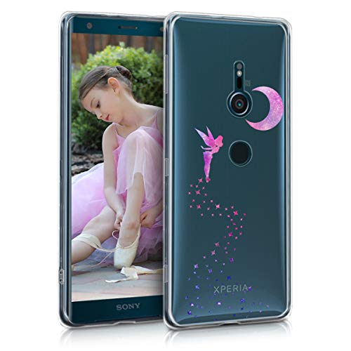 kwmobile Sony Xperia XZ3 Hülle - Handyhülle für Sony Xperia XZ3 - Handy Case in Fee Design Pink Violett Transparent