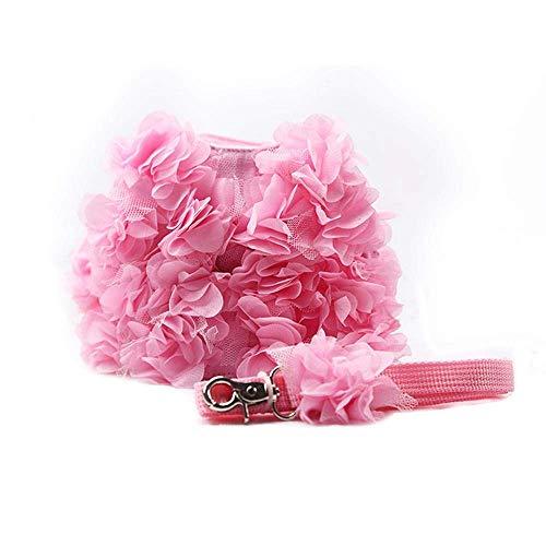 JSMeet Pink Petal Flower Weste Geschirr mit passender Leine für Katzen Hunde, Hamdmade Breathable Hundeleine Zugseil Haustier Custome für Puppy Kitten Walking Running Training - S