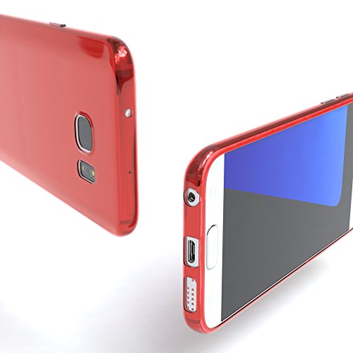 "EAZY CASE Handyhülle für Samsung Galaxy S7 Hülle - Premium Handy Schutzhülle Slimcover ""Brushed"" Aluminium Design - TPU Silikon Backcover in brushed Hellblau Clear Rot"