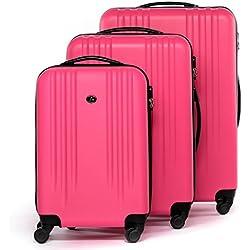 FERGÉ® Set 3 valises Voyage Rigide léger Marseille Ensemble de Bagages Trois pc 4 Roues Trolley 4 roulettes 360 degrés Bagage Cabine Pink