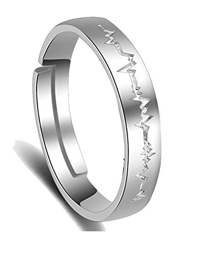 Karatcart Platinum Plated Elegant Heartbeat Adjustable Band Ring For Women