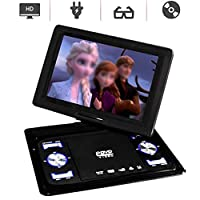 "10"" Portable DVD Player with Swivel Screen, Rechargeable Battery, Support Region Free, USB/SD Card, Sync Screen Playing,Direct Play in Formats AVI/MP3/JPEG/RMVB"
