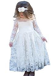 Babyonline Langarm Blumenmädchen Kleid Kinder Mädchen Kleid festlich Brautjungfern Party Kleid Elfenbein Festzug Hochzeit, Elfenbein, Gr. 8-9 Jahre alt, 130 CM
