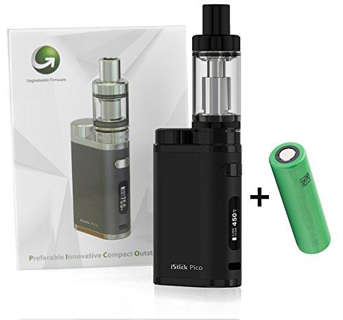 E-Zigarette Eleaf iStick Pico TC 75 Watt / MELO 3 Verdampfer 4ml Komplett Set, schwarz (Full Kit + Akku)