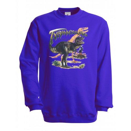 Ethno Designs Kinder Sweatshirt Tyrannosaurus Rex, Größe 134/140, royal (Rex Größe Tyrannosaurus)