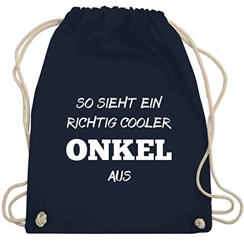 Bruder & Onkel - So sieht ein richtig cooler Onkel aus - Unisize - Navy Blau - WM110 - Turnbeutel & Gym Bag (Kordelzug Cooler Bag)