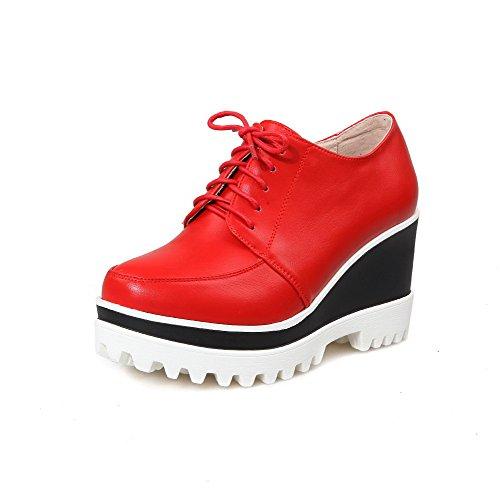 AllhqFashion Femme Rond Fermeture D'Orteil Zip Pu Cuir Couleur Unie à Talon Haut Chaussures Légeres Rouge