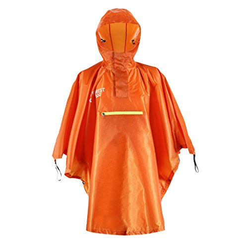 Unbekannt Non-Brand Wasserdicht Regenponcho Regenmantel Regencape Wanderponcho Kapuze Regenschutz für Herren Damen - Orange