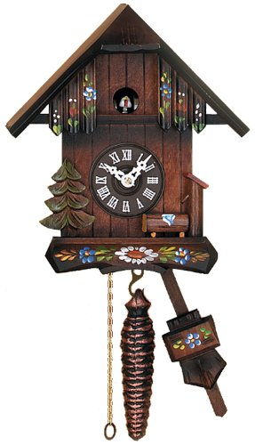 River City Clocks Quarter Call Kuckucksuhr Cottage mit handgemalten Blumen - Cottage, Cuckoo Clock