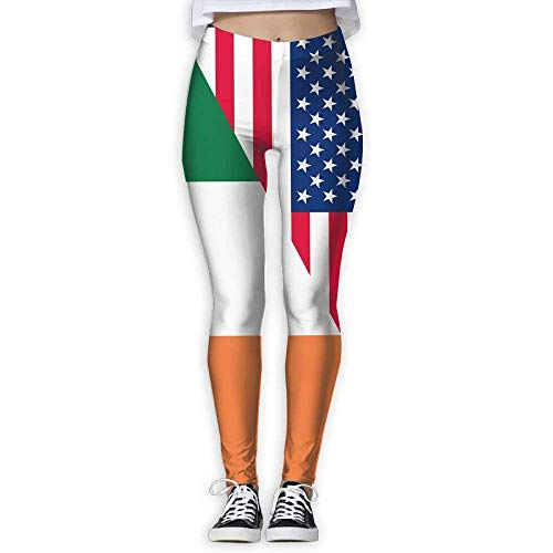 best& Ireland Patriotic American Flag Women Printed Yoga Pants Elastic Tights Workout Running Leggings Small