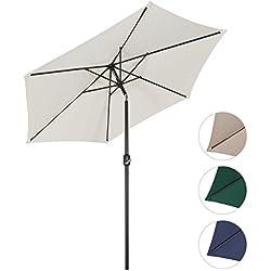 Sekey® sombrilla parasol para terraza jardín playa piscina patio diámetro 270 cm protector solar UV50+ crema