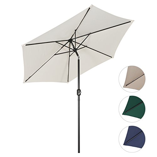 Sekey® Sonnenschirm Ø 270 cm Marktschirm Gartenschirm Terrassenschirm Creme Rund Sonnenschutz UV50+