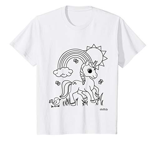 Kids Coloring T-Shirt for Kids Unicorn Painting Shirt