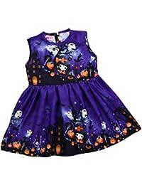 ZODOF Niño de Halloween niños niña de Dibujos Animados sin Mangas Princesa Vestido de Ropa
