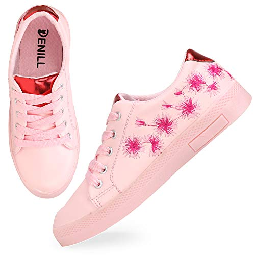 Denill Synthetic Sneaker Shoes for Women's and Girl's (Size: 3 UK/India (36EU), Color: Pink)