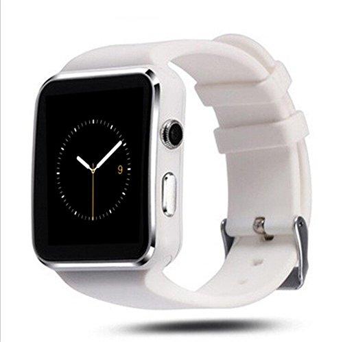 INDI X6 Smart Watch Bluetooth Smartwatch mit Kamera SIM Slot TF Karte Smart Uhren für Android für Männer Handys Samsung LG Sony HTC Google Pixel Telefon (Weiß)