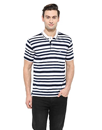 Duke Regular Fit Striper T-shirt For Men Polo Neck 100% Organic Cotton Material Dark Navy Color