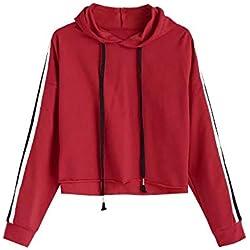 SHOBDW LiquidacióN Ventas Mujeres Sudadera con Capucha A Rayas Sudadera Jersey Jersey Corto OtoñO Invierno Camisetas De Manga Larga(Rojo,M)