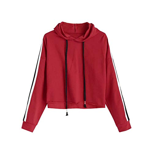 OverDose Damen Herbst-Winter-Outing-Art-Frauen Striped Long Sleeve Hoodie-Sweatshirt-Pullover-mit Kapuze datierende radfahrendünne Pullover-Oberseiten-Bluse(Rot,EU-44/CN-XL) Long Sleeve Striped Sweatshirt