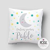 Cojín decoración dulces sueños luna. 40x40 cm, incluye relleno. Elige el color del diseño. Regalo nacimiento, recién nacido, bebe. Cojines infantiles originales. Siesta guardería