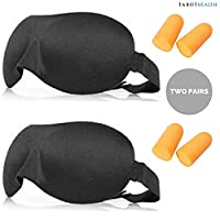 2 PACK Sleep Mask Eyepads is the Ultimate Blindfold for Sleeping Aid or Keeping Out Light During Travel AND Two Pairs of Ear Plugs - Suitable for Men and for Women