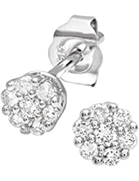 Naava Women's 0.50 ct Single-Stone J-I2 Diamond Earrings on 9 ct White Gold-0.25 ct each earring