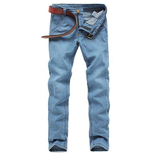 OCHENTA Herren lange Jeanshose Loose Fit Tapered Dünn Plus Größe Elastisch für Sommer Hellblau