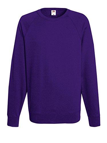 Fruit of the Loom Herren Sweatshirt Lightweight Raglan Sweat Purple