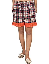 9teenAGAIN Women's Cotton Checks Shorts (Red)