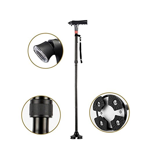 Intelligent Elderly Cane Alliage d'aluminium avec alarme LED Lamp Crutches Telescopic Folding Outdoor Old Man Stick , B