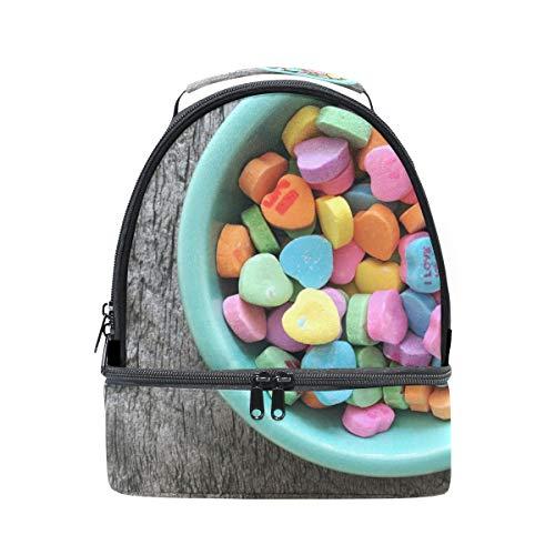 Alinlo colorati a forma di cuore caramelle scatola porta pranzo in borsa con tracolla regolabile per pincnic scuola