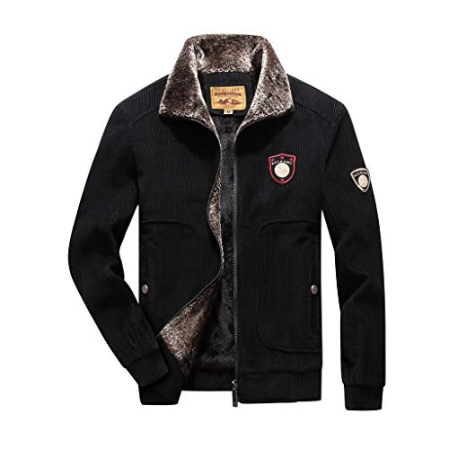 Plot Herren Winterjacke Warm Einfarbig Übergangsjacke Winter Gefüttert Revers Cord Jacke Softshell Jacke Outdoor Parka Mantel Jacke (Mantel Cord-gefütterte)