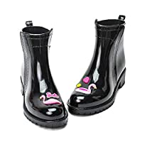 lonfenner Rain Boots,Flamingo Rain Boots Women Soft Comfortable Waterproof Non-Slip With Water Shoes Ankle Rainboots Female Rubber Ladies Black Rain Boots