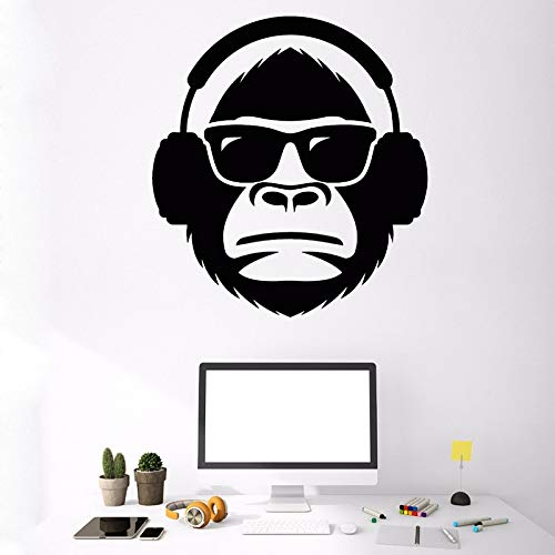 ziweipp Wanddekor Affenkopf In Sonnenbrille Musikalische Kopfhörer Wandtattoo Decor für Zuhause Kreative Affenkopf Vinyl Wandaufkleber 57 * 62 cm