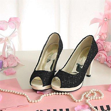 LvYuan Damen-Sandalen-Kleid Lässig-maßgeschneiderte Werkstoffe-Stöckelabsatz-Neuheit Club-Schuhe-Schwarz Weiß Beige White