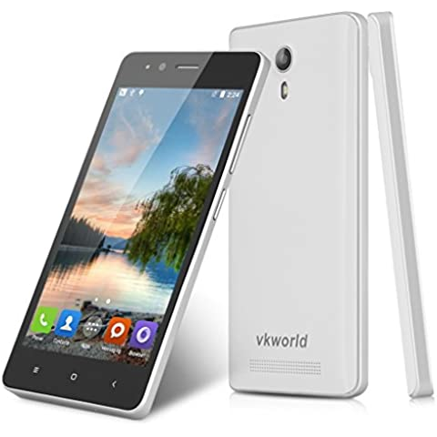 Vkworld F1 - 3G Smartphone Libre Android 5.1 Multi-Idioma (Pantalla 4.5'' IPS, MT6580M Quad Core 1.3GHz, 1G Ram, 8G Rom, Dual Sim, Smart Wake GPS WIFI)