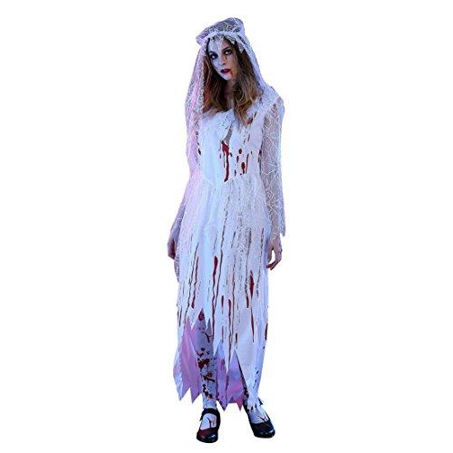 JTENGYAO Damen Ghost Braut Halloween Mit Blut Party Kostüm Weihnachten Cosplay (Katze Kostüm Blut)