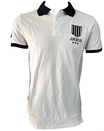 Polo juventus bianco nera logo storico t-shirt juve ps 27075-12 anni-bianco