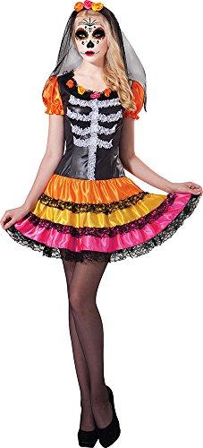 Damen Senorita Mexikanisch Horror Kostüm Tag der Toten Damen Rainbow Kostüm