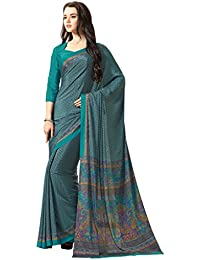 Ligalz Women's Turquoise Crepe Silk Saree (Special Discounted Price Only For THE GREAT INDIAN FESTIVAL)