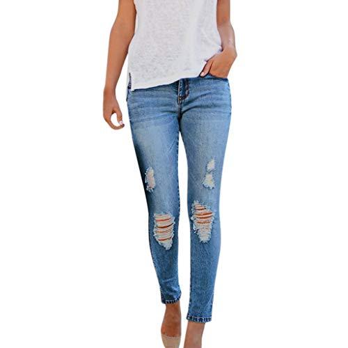 Hffan Frau Cool Zerrissen Knie Schneiden Dünn Lange Jeans Hose Slim Fit Bleistifthose Damen Cropped Jeans High-Waist Stretch Ripped Loch Bleistift Modern Lässige Hosen (M, Blau)