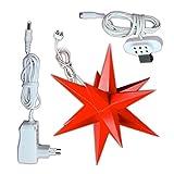 1 Roter Stern Sternschmiede (Art.Nr.11), Durchmesser 19cm, Papier, Rot, handgefertigt, beleuchtet mit Netzteil für den Innenbereich