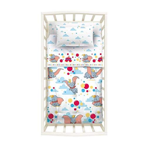 Baby-Bettdecke für Kinderbett, Motiv: Disney Dumbo, Bezug 100% Baumwolle, hergestellt in Italien