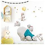 Little Deco Wandtattoo Babyzimmer Eisbär & Hasen mit Ballon Gelb I M - 96 x 82 cm (BxH) I Sterne Kinderbilder Deko Kinderzimmer Jungen Aufkleber Sticker DL235