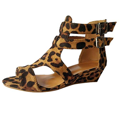 WWricotta Women Sandals Summer Wedges Leopard Casual Shoes Strap Gladiator Roman Sandals (Casual Wedges)